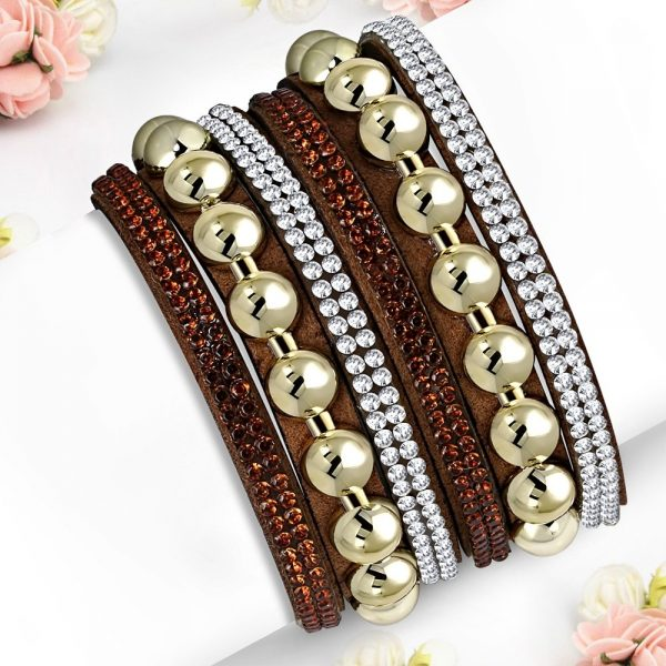 Montebello Armband Aida Brown - Dames - Fluweel - Strass - 40cm-0