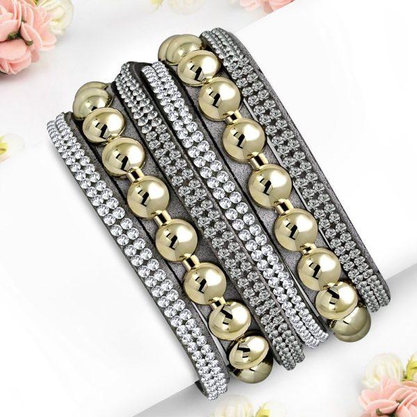 Montebello Armband Aida Grey - Dames - Fluweel - Strass - 40cm-0