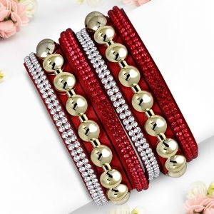 Montebello Armband Aida Red - Dames - Fluweel - Strass - 40cm-0