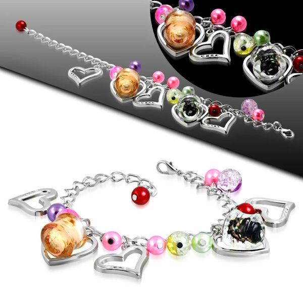 Montebello Armband Azia FBF568 - Dames - Glasbedels - Hartjes - Aanpasbare Lengte-26296