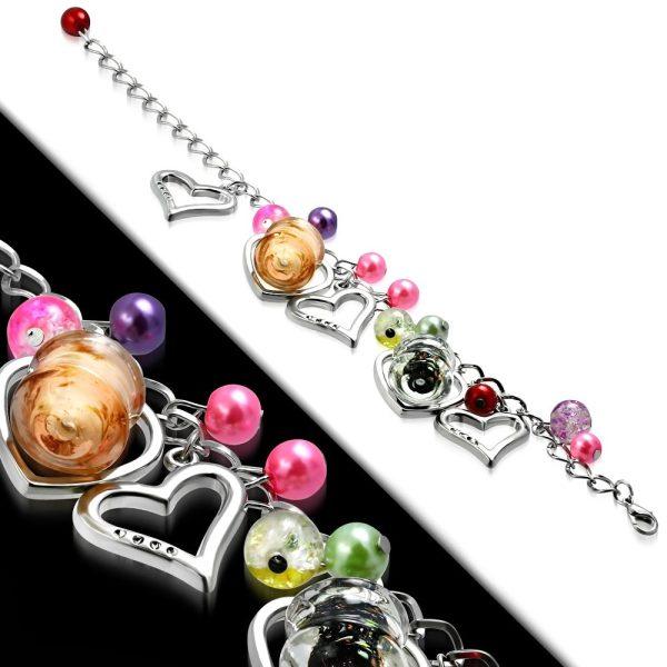 Montebello Armband Azia FBF568 - Dames - Glasbedels - Hartjes - Aanpasbare Lengte-26295