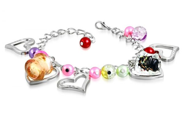 Montebello Armband Azia FBF568 - Dames - Glasbedels - Hartjes - Aanpasbare Lengte-0